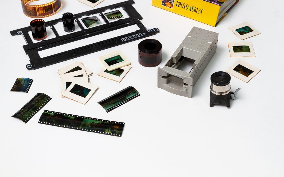 35mm slides and negatives on a desktop
